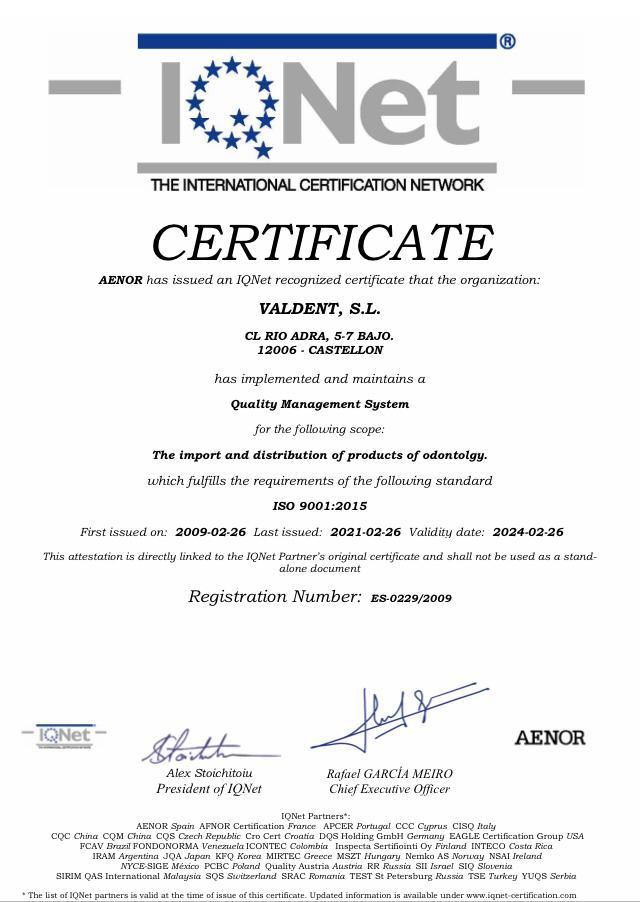 Certificado AENOR Valdent
